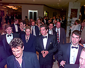 Actor Sean Penn, lower left, and John F. Kennedy, Jr. and his wife, Carolyn Bessette Kennedy depart the 1999 White House Correspondents Association Dinner at the Washington Hilton Hotel in Washington, D.C. on May 1, 1999.<br /> Credit: Ron Sachs / CNP