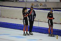 SCHAATSEN: HEERENVEEN: 24-10-2014, IJsstadion Thialf, Topsporttraining, Antoinette de Jong, Jillert Anema (trainer Team Clafis), Carlijn Achtereekte, ©foto Martin de Jong