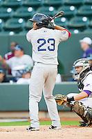 Xander Bogaerts #23 of the Salem Red Sox at bat against the Winston-Salem Dash at BB&T Ballpark on May 5, 2012 in Winston-Salem, North Carolina.  The Red Sox defeated the Dash 6-4.  (Brian Westerholt/Four Seam Images)
