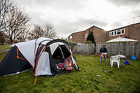 "London, 08/03/2015. Following the eviction of the Sweets Way Estate (N20) in February (Aftermath of the eviction please click here: http://bit.ly/1DVWxH2), Barnet residents, activists, Londoners and members of the public meet at Sweets Way N20 to have a 'Fun Day' celebrating their five-year-old community and protest against the so called ""Barnet Homes and Annington Homes"". From the organisers press release: <<Sweets Way Estate housing occupation kicks off with community fun day. Tenants and activists have occupied a prominent empty house on the Sweets Way estate in Barnet to highlight the community being destroyed by Annington Homes' 'redevelopment' plans, as eviction of 150 family homes is underway. This morning, metal covers were removed from the doors and windows of a recently emptied Sweets Way flat, opening the space to the public as part of a short-term political occupation by activists and tenants. The action was inspired by Focus E15, the East London campaign launched by 29 young mothers facing evictions, who fought to be rehoused locally, occupying four flats on the Carpenters Estate in Stratford in September 2014. Like the Focus E15 Open House, the Sweets Way social centre aims to highlight social cleansing of a community, and provide space for residents to organise together for decent homes. Property developer Annington Homes is committed to just 11% 'affordable' homes in the planned re-development of Sweets Way estate. Most of the families of Sweets Way have already faced eviction from the estate – and are currently residing in temporary accommodation across London – and the occupation kicks off with current and former residents coming together at a fun day to celebrate the community they have built in the past five years. […]>>.<br />