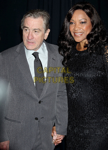 Robert De Niro & Grace Hightower.16th Annual Hollywood Film Awards Gala held at the Beverly Hilton Hotel, Beverly Hills, California, USA..October 22nd, 2012.half length suit grey gray white shirt black dress married husband wife .CAP/ADM/RE.©Russ Elliot/AdMedia/Capital Pictures.