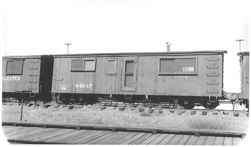 Office car 04947 at Montrose.<br /> D&amp;RGW  Montrose, CO  Taken by Darrell, Paul - 8/1939