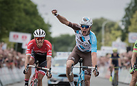Oliver Naesen (BEL/AG2R-LaMondiale) wins the finish sprint against Sep Vanmarcke (BEL/Cannondale-Drapac) &amp; Jasper Stuyven (BEL/Trek-Segafredo)<br /> <br /> 2017 National Championships Belgium - Elite Men - Road Race (NC)<br /> 1 Day Race: Antwerpen &gt; Antwerpen (233km)