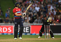 Jos Buttler is stumped by Tim Seifert off the bowling of Sodhi.<br /> New Zealand Black Caps v England.Tri-Series International Twenty20 cricket. Eden Park, Auckland, New Zealand. Sunday 18 February 2018. &copy; Copyright Photo: Andrew Cornaga / www.Photosport.nz