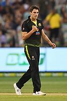 1st November 2019; Melbourne Cricket Ground, Melbourne, Victoria, Australia; International T20 Cricket, Australia versus Sri Lanka; Pat Cummins of Australia celebrates a wicket - Editorial Use