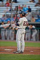 Connecticut Tigers right fielder Teddy Hoffman (23) at bat during a game against the Auburn Doubledays on August 10, 2017 at Falcon Park in Auburn, New York.  Connecticut defeated Auburn 4-1.  (Mike Janes/Four Seam Images)