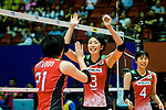 Nana Iwasaka (C) and Ai Kurogo of Japan (L) celebrates a point with her teammates during the FIVB Volleyball Nations League Hong Kong match between Japan and Argentina on May 31, 2018 in Hong Kong, Hong Kong. Photo by Marcio Rodrigo Machado / Power Sport Images