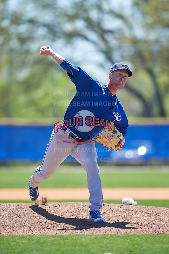 Toronto Blue Jays Jonathan Harris (23) during a minor league Spring Training intrasquad game on March 22, 2016 at Englebert Complex in Dunedin, Florida.  (Mike Janes/Four Seam Images)
