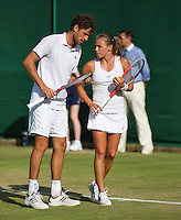 29-06-13, England, London,  AELTC, Wimbledon, Tennis, Wimbledon 2013, Day six, Robin Haase (NED) with his mixed doubles partner Alicja Rosolska (POL)<br /> <br /> <br /> <br /> Photo: Henk Koster