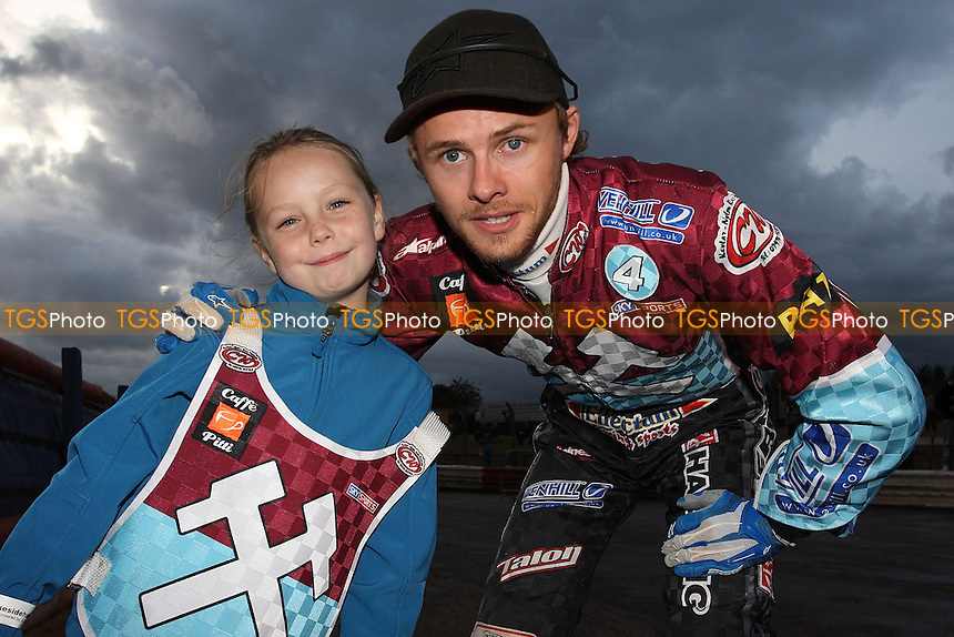 Jonas Davidsson with the Lakeside mascot - Lakeside Hammers vs Ipswich Witches - Sky Sports Elite League Speedway at Arena Essex Raceway, Purfleet - 28 /08/09 - MANDATORY CREDIT: Gavin Ellis/TGSPHOTO - Self billing applies where appropriate - Tel: 0845 094 6026
