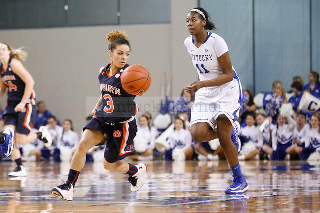 Auburn senior guard Najat Ouardad rushing the ball down the court during the second half of the UK Hoops vs. Auburn women's basketball game at Memorial Coliseum on Sunday, January 20, 2013, in Lexington, Ky. Photo by Kalyn Bradford | Staff