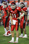 1/1/05 -- Photo by Gene Lower / Slingshot -- Utah quarterback Alex Smith waits for the play from the sideline. The Utes won the Fiesta Bowl 35 - 7 against the Pittsburgh Panthers in Phoenix, AZ on 1/1/05.