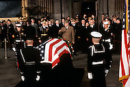 The Capitol Rotunda, Washington D.C. - March 31, 1969. The French President Charles de Gaulle infront of the casket of former President Dwight Eisenhower. He (October 14, 1890 - March 28, 1969) was the 34th President of the United States from 1953 until 1961, was a five-star general in the United States Army during World War II and was the first supreme commander of NATO.