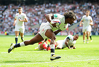 Marland Yarde of England runs in a try in the second half. Old Mutual Wealth Cup International match between England and Wales on May 29, 2016 at Twickenham Stadium in London, England. Photo by: Patrick Khachfe / Onside Images