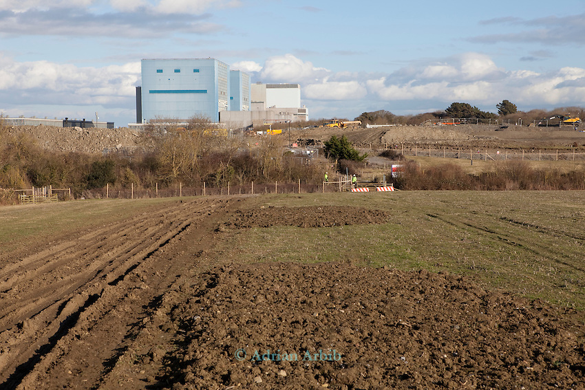 Hinkley Point  power nuclear power station north Somerset . Protesters have occupied a farmhouse close by  as EDF clear the land well  before  they have been given planning  permission for a  new power station at Hinkley C as part of  the UK  Government's new  nuclear plan
