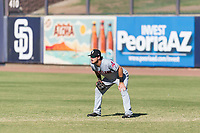 Glendale Desert Dogs right fielder Connor Marabell (4), of the Cleveland Indians organization, during an Arizona Fall League game against the Peoria Javelinas at Peoria Sports Complex on October 22, 2018 in Peoria, Arizona. Glendale defeated Peoria 6-2. (Zachary Lucy/Four Seam Images)
