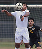 Zyde Nawabi #10 of Syosset plays a ball off of his chest during a Nassau County Conference AA-1 varsity boys soccer game against host Uniondale High School on Tuesday, Oct. 2, 2018. He scored a goal in the opening minute of the match. Syosset won by a score of 2-0.