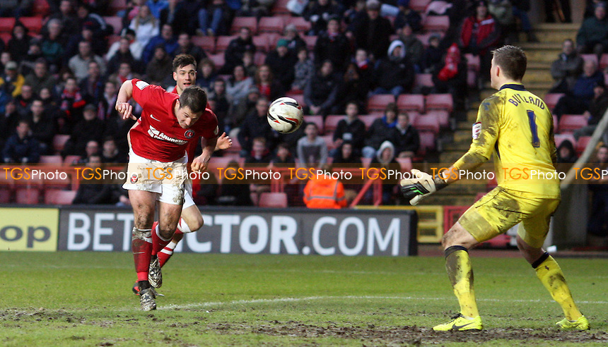 Yann Kermorgant scores the 1st goal for Charlton - Charlton Athletic vs Birmingham City, nPower Championship at The Valley, Charlton - 09/02/13 - MANDATORY CREDIT: Rob Newell/TGSPHOTO - Self billing applies where appropriate - 0845 094 6026 - contact@tgsphoto.co.uk - NO UNPAID USE.