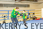 In the ring Daniel Burke with coach Sean O'Shea at Tralee Boxing Club's new location in Monavalley on Monday
