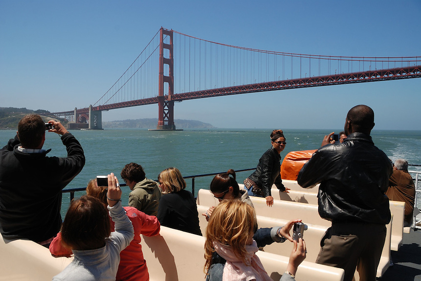 Golden Gate Bridge, San Francisco, as tourists take pictures from a tour boat. Ernie Mastroianni photo
