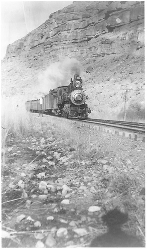 Engine #173 with passenger train in Black Canyon.<br /> D&amp;RGW  Black Canyon, CO  Taken by Curtiss, H. L.