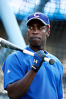 Alfonso Soriano of the Chicago Cubs during batting practice before a game from the 2007 season at Dodger Stadium in Los Angeles, California. (Larry Goren/Four Seam Images)