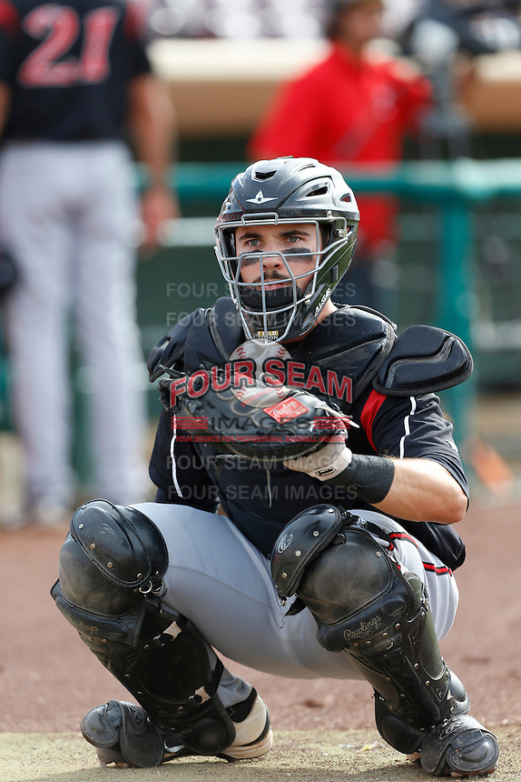 Austin Hedges #24 of the Lake Elsinore Storm catches in the bullpen before a game against the Inland Empire 66'ers at San Manuel Stadium on June 23, 2013 in San Bernardino, California. Lake Elsinore defeated Inland Empire, 6-2. (Larry Goren/Four Seam Images)