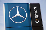 Sign for Mercedes Smart car. Car sales dealership, Ransomes Europark, Ipswich, Suffolk, England