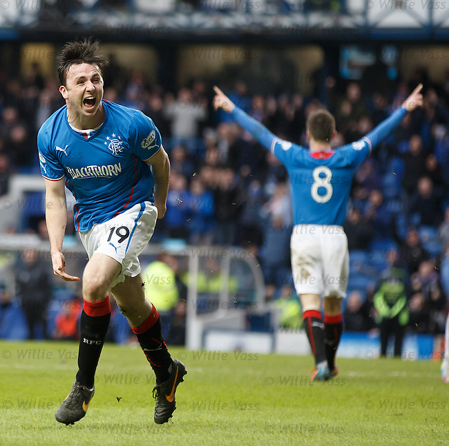 Calum Gallagher celebrates scoring the second goal for Rangers