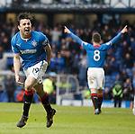 Calum Gallagher celebrates scoring the second goal for Rangers
