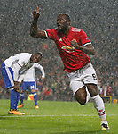Romelu Lukaku of Manchester United celebrates after scoring the second goal during the Champions League Group A match at the Old Trafford Stadium, Manchester. Picture date: September 12th 2017. Picture credit should read: Andrew Yates/Sportimage