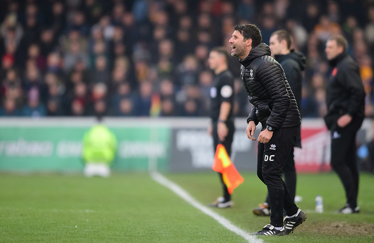 Lincoln City manager Danny Cowley shouts instructions to his team from the technical area<br /> <br /> Photographer Chris Vaughan/CameraSport<br /> <br /> The EFL Sky Bet League Two - Lincoln City v Mansfield Town - Saturday 24th November 2018 - Sincil Bank - Lincoln<br /> <br /> World Copyright © 2018 CameraSport. All rights reserved. 43 Linden Ave. Countesthorpe. Leicester. England. LE8 5PG - Tel: +44 (0) 116 277 4147 - admin@camerasport.com - www.camerasport.com