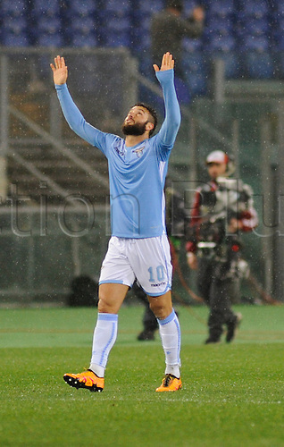 25.02.2016. Stadio Olimpico, Rome, Italy. Uefa Europa League, Return leg of SS Lazio versus Galatasaray. Goal celebrations for the goal from Felipe Anderson Lazio