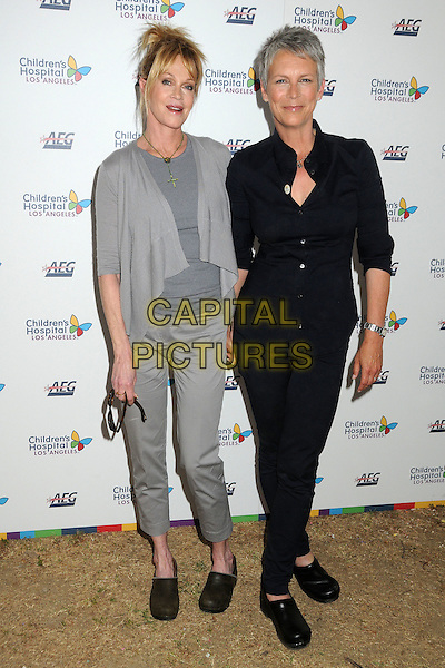MELANIE GRIFFITH & JAMIE LEE CURTIS.Children's Hospital Los Angeles 5K Walk held at Griffith Park, Los Angeles, California, USA..April 30th, 2011.full length grey gray black trousers top shirt cardigan shoes .CAP/ADM/BP.©Byron Purvis/AdMedia/Capital Pictures.