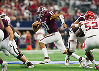 Hawgs Illustrated/Ben Goff<br /> Kellen Mond, Texas A&M quarterback, runs the ball in the 2nd quarter Saturday, Sept. 29, 2018, during the Southwest Classic at AT&T Stadium in Arlington, Texas.