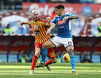 9th February 2020; Stadio San Paolo, Naples, Campania, Italy; Serie A Football, Napoli versus Lecce; Giovanni Di Lorenzo of Napoli holds off Riccardo Saponara of Lecce