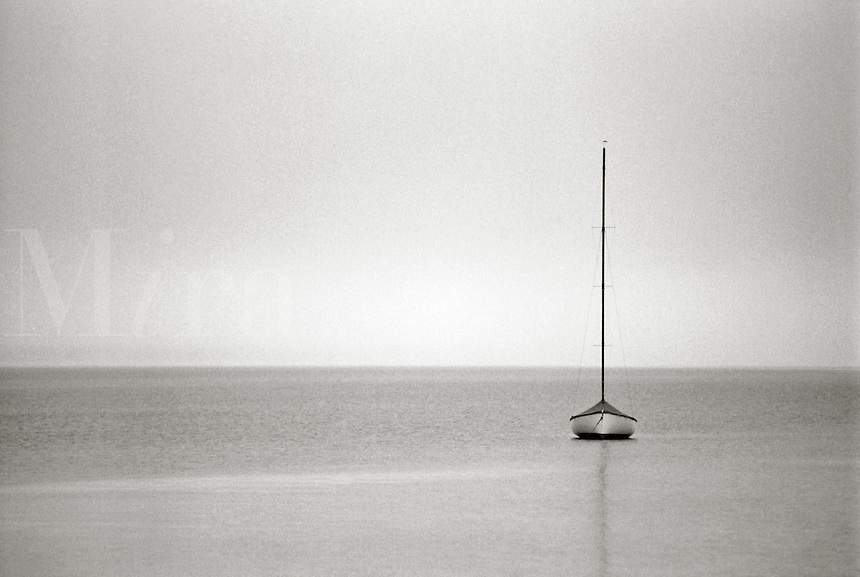 Solo Boat. B&W Boat. Sailboat.