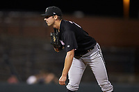 Kannapolis Intimidators relief pitcher Bennett Sousa (27) looks to his catcher for the sign against the Hickory Crawdads at L.P. Frans Stadium on July 20, 2018 in Hickory, North Carolina. The Crawdads defeated the Intimidators 4-1. (Brian Westerholt/Four Seam Images)