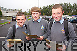 Students from CBS, The Green, Tralee collecting their Junior Cert results on Wednesday, from left: Adam Barrett (Tralee), Jake Foley (Tralee) and Kyle Cronin (Tralee). .