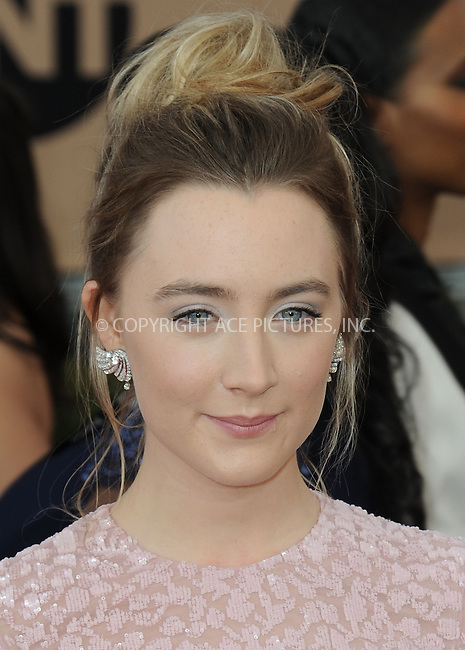 WWW.ACEPIXS.COM<br /> <br /> January 30 2016, LA<br /> <br /> Saoirse Ronan arriving at the 22nd Annual Screen Actors Guild Awards at the Shrine Auditorium on January 30, 2016 in Los Angeles, California<br /> <br /> By Line: Peter West/ACE Pictures<br /> <br /> <br /> ACE Pictures, Inc.<br /> tel: 646 769 0430<br /> Email: info@acepixs.com<br /> www.acepixs.com