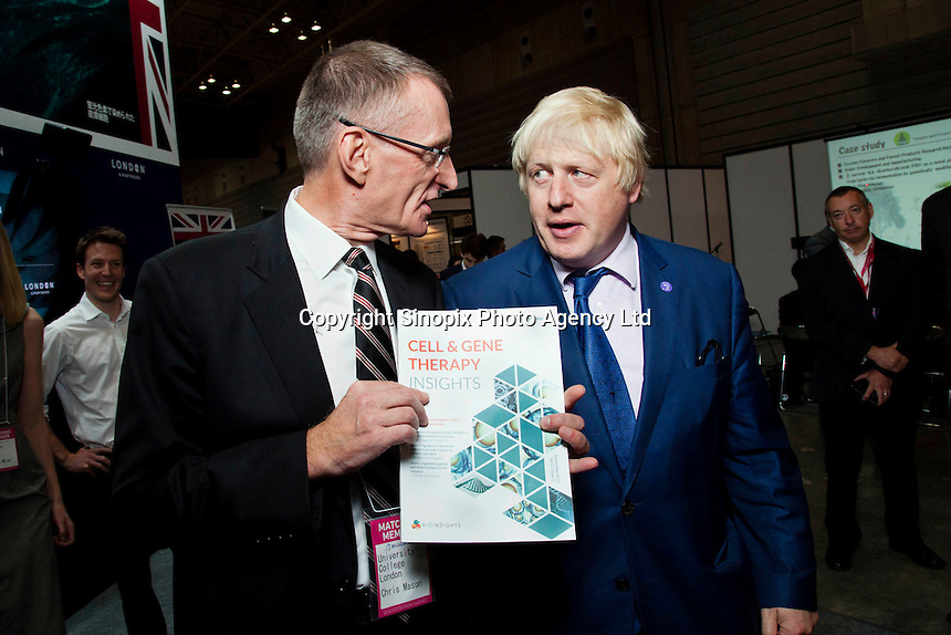 OCTOBER 15, 2014 -TOKYO, JAPAN: Mayor of London, Boris Johnson and Chris Mason of University College London, promotes UK-Japan partnerships in cell therapy and regenerative medicine at Bio-city conference in Yokohama, Japan 14th October, 2015. (photo by Ko Sasaki- Sinopx)