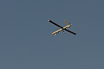 An Elbit Hermes 450 UAV flies over a test field in Megido, northern Israel.