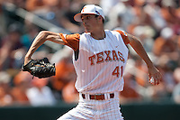 Texas Longhorns pitcher Hoby Milner #41 delivers during the NCAA baseball game against the Texas A&M Aggies on April 28, 2012 at UFCU Disch-Falk Field in Austin, Texas. The Aggies beat the Longhorns 12-4. (Andrew Woolley / Four Seam Images)..