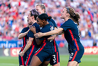 FRISCO, TX - MARCH 11: Megan Rapinoe #15 of the United States celebrates with Crystal Dunn #19 and Sam Mewis #3 during a game between Japan and USWNT at Toyota Stadium on March 11, 2020 in Frisco, Texas.