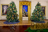 "The 2018 White House Christmas decorations, with the theme ""American Treasures"" which were personally selected by first lady Melania Trump, are previewed for the press in Washington, DC on Monday, November 26, 2018.  The White House creche, which has been displayed for fifty-one years in the East Room.  It is flanked by two trees and the portraits of Martha Washington, left, and George Washington, right.<br /> Credit: Ron Sachs / CNP"