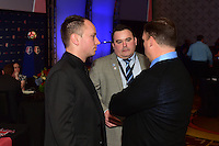 Los Angeles, CA - Thursday January 12, 2017: Rory Dames,Boston Breakers General Manager Lee Billiard, Mark Parsons during the 2017 NWSL College Draft at JW Marriott Hotel.