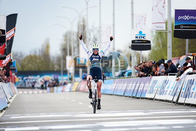 Ellen van Dijk (NED) Trek-Segafredo wins Dwars Door Vlaanderen Elite Women 2019, running 108 km from Tielt to Waregem, Belgium. 3rd April 2019.  <br /> Picture: Trek/Sean Robinson/Velofocus | Cyclefile<br /> <br /> <br /> All photos usage must carry mandatory copyright credit (© Cyclefile | Trek/Sean Robinson/Velofocus)