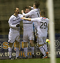 Raith Rovers' Dougie Hill (second left) celebrates after he scores the equaliser.