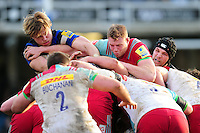 David Denton of Bath Rugby and George Merrick of Harlequins in action at a maul. Aviva Premiership match, between Bath Rugby and Harlequins on February 18, 2017 at the Recreation Ground in Bath, England. Photo by: Patrick Khachfe / Onside Images
