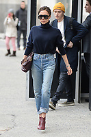 www.acepixs.com<br /> February 9, 2018 New York City<br /> <br /> Victoria Beckham and Brooklyn Beckham seen in New York City on February 9, 2018.<br /> <br /> Credit: Kristin Callahan/ACE Pictures<br /> <br /> Tel: 646 769 0430<br /> Email: info@acepixs.com